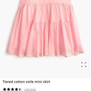 J.Crew Tiered Cotton Voile Mini Skirt, pink, Sz 4